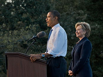 English: Obama-Clinton rally in Orlando. Barac...