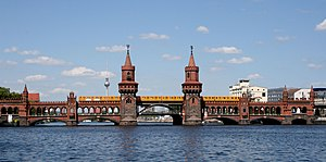 Oberbaum Bridge - An U-Bahn train crosses the Oberbaum Bridge
