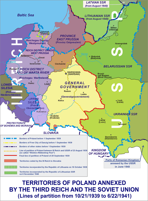 Poland was partitioned in 1939 as agreed by Germany and the Soviet Union in their treaty; division of Polish territories in 1939-41 Occupation of Poland 1939.png