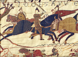 Bayeux Tapestry - A segment of the Bayeux Tapestry depicting Odo, Bishop of Bayeux, rallying Duke William's troops during the Battle of Hastings in 1066
