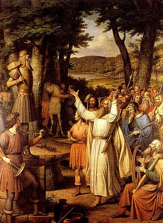 Norse rituals - A goði leads the people in sacrificing to an idol of Thor in this painting by J. L. Lund.