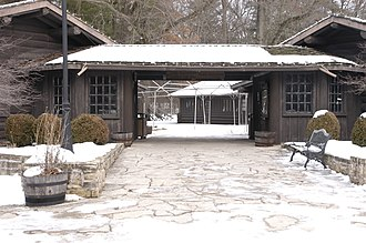 White Pines State Park Lodge and Cabins - The covered breezeway between the two lodge buildings.