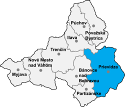 Location of Prjevidzas apriņķis