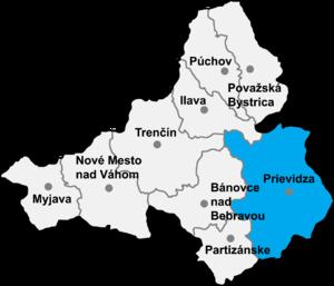 Jalovec, Prievidza District - Location of Prievidza District in the Trenčín Region