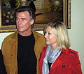 Olivia Newton-John and John Easterling at the Hungarian Academy of Sciences, Budapest.JPG