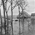 Onder water gelopen boerderij in inundatiegebied, Bestanddeelnr 900-5289.jpg