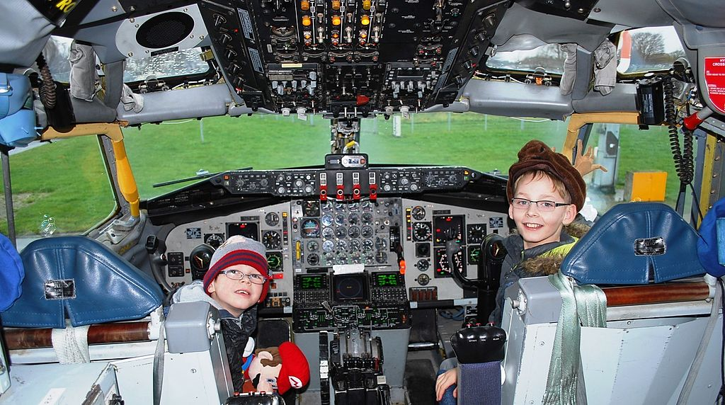children in an aircraft