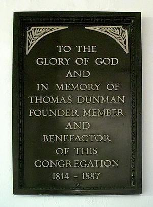 Thomas Dunman - A wooden plaque commemorating Dunman at Orchard Road Presbyterian Church