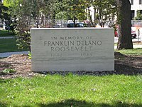 The original memorial to President Franklin Delano Roosevelt on the corner of 9th Street and Pennsylvania Avenue in Washington DC