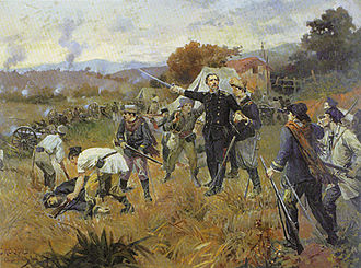 Battle of Fanfa, battle scene in Southern Brazil during the Ragamuffin War Oscar Pereira da Silva - Cena de Batalha no Sul do Brasil.jpg