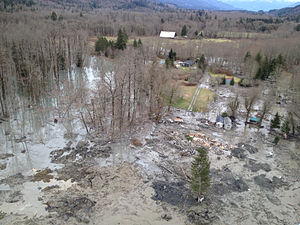 2014 Oso mudslide - Aerial view of the damage