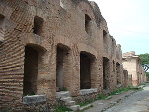 Insula (building) - An insula dating from the early 2nd century A.D. in the Roman port town of Ostia Antica