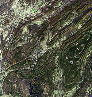 Ouachita Mountains - Satellite image of the Ouachita Mountains