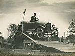 "Overland car jumping a ""fallen bridge"" in a promotional stunt, 1920 - 1929 (4361000343).jpg"