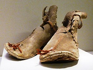 Boot - Oxhide boots from Loulan, Xinjiang, China. Former Han dynasty 220 BC – AD 8.