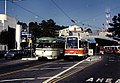 PCC 1025 and Boeing LRV 1220 at West Portal, November 1980.jpg