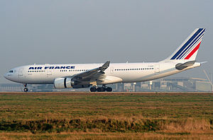 Air France Flight 447 - F-GZCP, the aircraft involved in the accident, shown here at Charles de Gaulle Airport in 2007