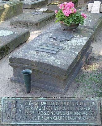 Johann Pachelbel - Pachelbel's tomb at the St. Rochus Cemetery (Rochuskirchhof) in Nuremberg
