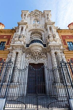 Palace of San Telmo - Main entrance seen bottom-up.