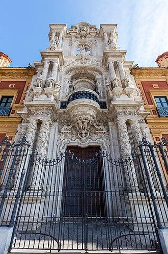 Palacio de San Telmo - Main façade entrance seen bottom-up.