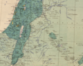 Palestine and Transjordan in Maunsell's map, Pre-World War I British Ethnographical Map of eastern Turkey in Asia, Syria and western Persia 05.png