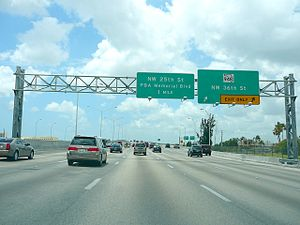 Florida State Road 826 - The Palmetto Expressway southbound at the SR 948 interchange near Doral