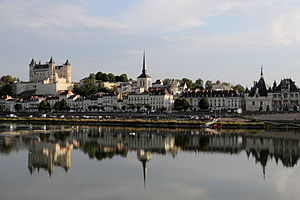 Saumur - The chateau, the church of Saint-Pierre-du-Marais and the town hall, seen from across the Loire