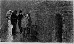 Patron-Minette - The Patron-Minette gang in their hide-out in the Paris sewer system. Illustration by Pierre-Georges Jeanniot