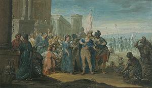 Pehr Hörberg - Roman soldiers with war trophy (1791), gouache by Pehr Hörberg.