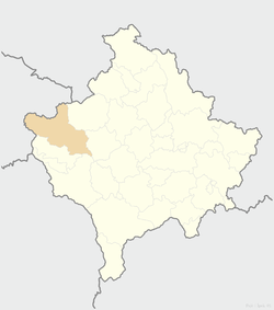 Location of the city of Peć within Kosovo