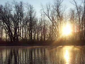 Penns Creek - Sun rising, as seen from Penns Creek