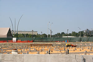 Pentagon Memorial - Construction of the outdoor Pentagon Memorial, as of September 2007