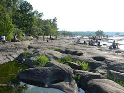 People on rocks of Belle Isle, James River, Richmond, Virginia.JPG