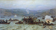 Russian crossing of the Danube, Nikolai Dmitriev-Orenburgsky, 1883