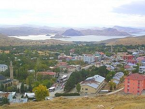 Pertek - View of Pertek, the 16th century Celebi Ali mosque is visible in the left of the image. In the background is lake Keban.