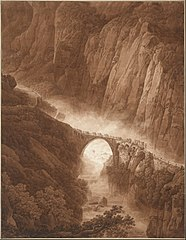 The Devil's Bridge in the Schöllenen Gorge on the Way across the St. Gotthard Pass with a Mule Train