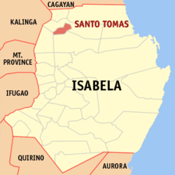 Map of Isabela showing the location of Santo Tomas