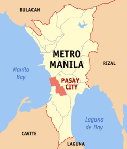 Map of Metropolitan Manila showing the location of Pasay City)