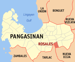 Map of Pangasinan with Rosales highlighted