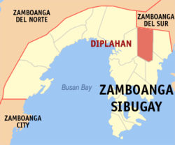 Map of Zamboanga Sibugay showing the location of Diplahan.