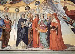 Dante y Beatriz con Tomás de Aquino, Alberto Magno, Pedro Lombardo y Sigerio de Brabante, fresco de Philipp Veit, 1817-1827