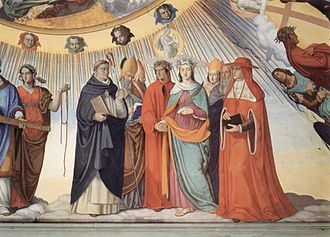 Paradiso (Dante) - Dante and Beatrice speak to the teachers of wisdom Thomas Aquinas, Albertus Magnus, Peter Lombard and Sigier of Brabant in the Sphere of the Sun (fresco by Philipp Veit), Canto 10.