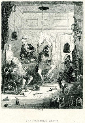 Auriol (novel) - Phiz illustration: Mr Thorneycroft, Sandman and Tinker in the enchanted chairs, observed by Ginger.