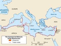 Fenicien med handelsruter