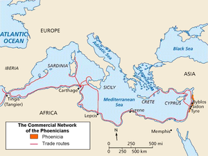 Phoenicianism - Map of Phoenicia and its Mediterranean trade routes.