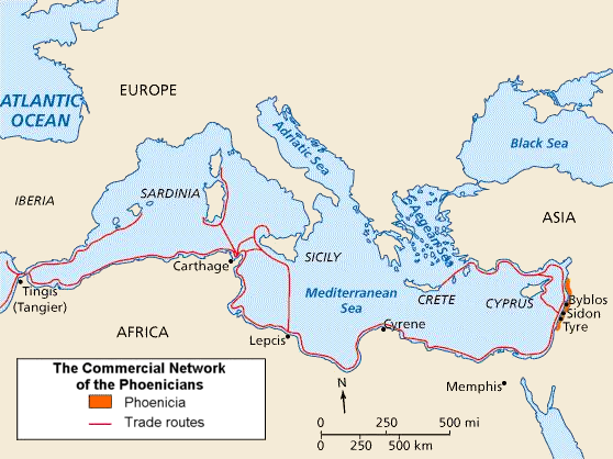 Map of Phoenicia and its Mediterranean trade routes