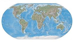 Мировой океан Википедия Карта мира на которой океаны показаны синим цветом