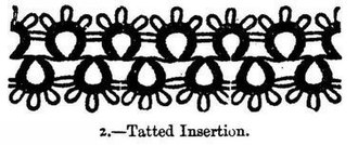 Picot - Picots on a tatted insertion. The picots are the small, oval-shaped loops arranged in threes at the top of the tatted material.