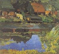 Piet Mondriaan - Buildings along the water with a wash stoop - A304 - Piet Mondrian, catalogue raisonné.jpg