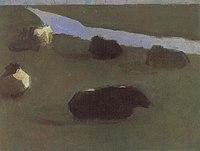 Piet Mondriaan - Polder landscape with irrigation ditch and five cows - A224 - Piet Mondrian, catalogue raisonné.jpg